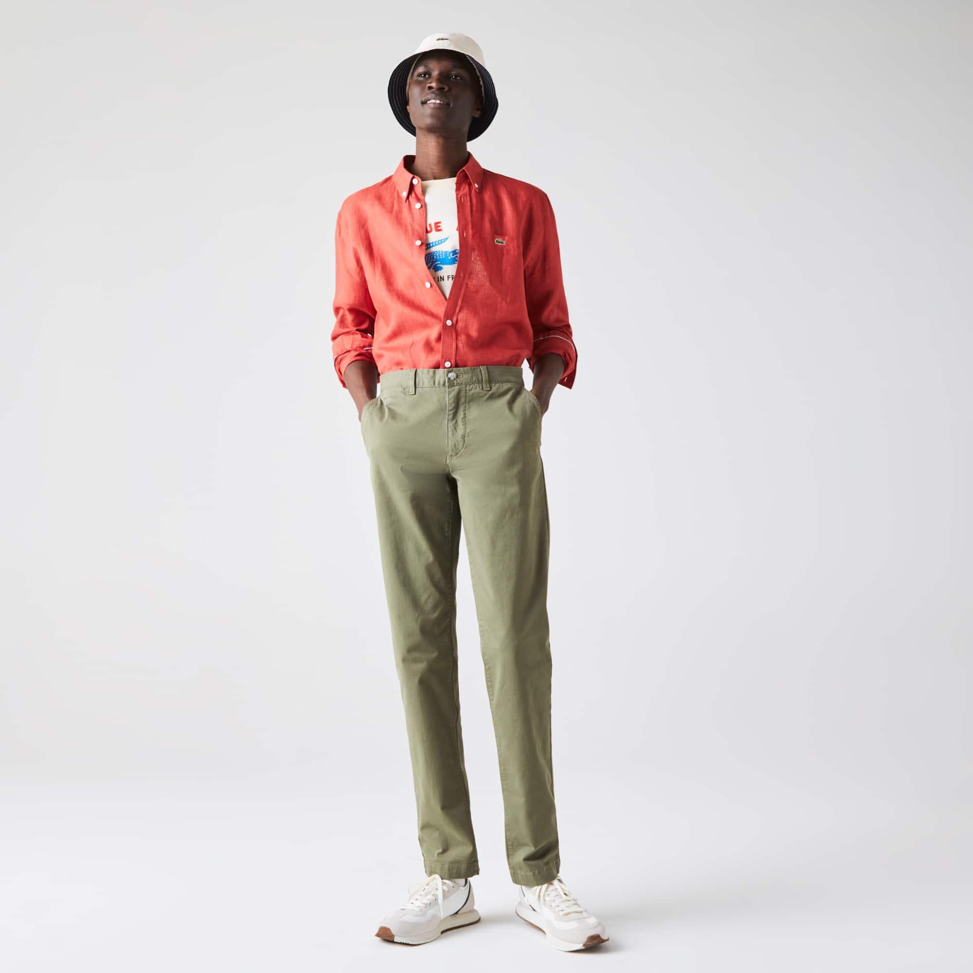 라코스테 Lacoste Mens Slim Fit Stretch Gabardine Chino Pants