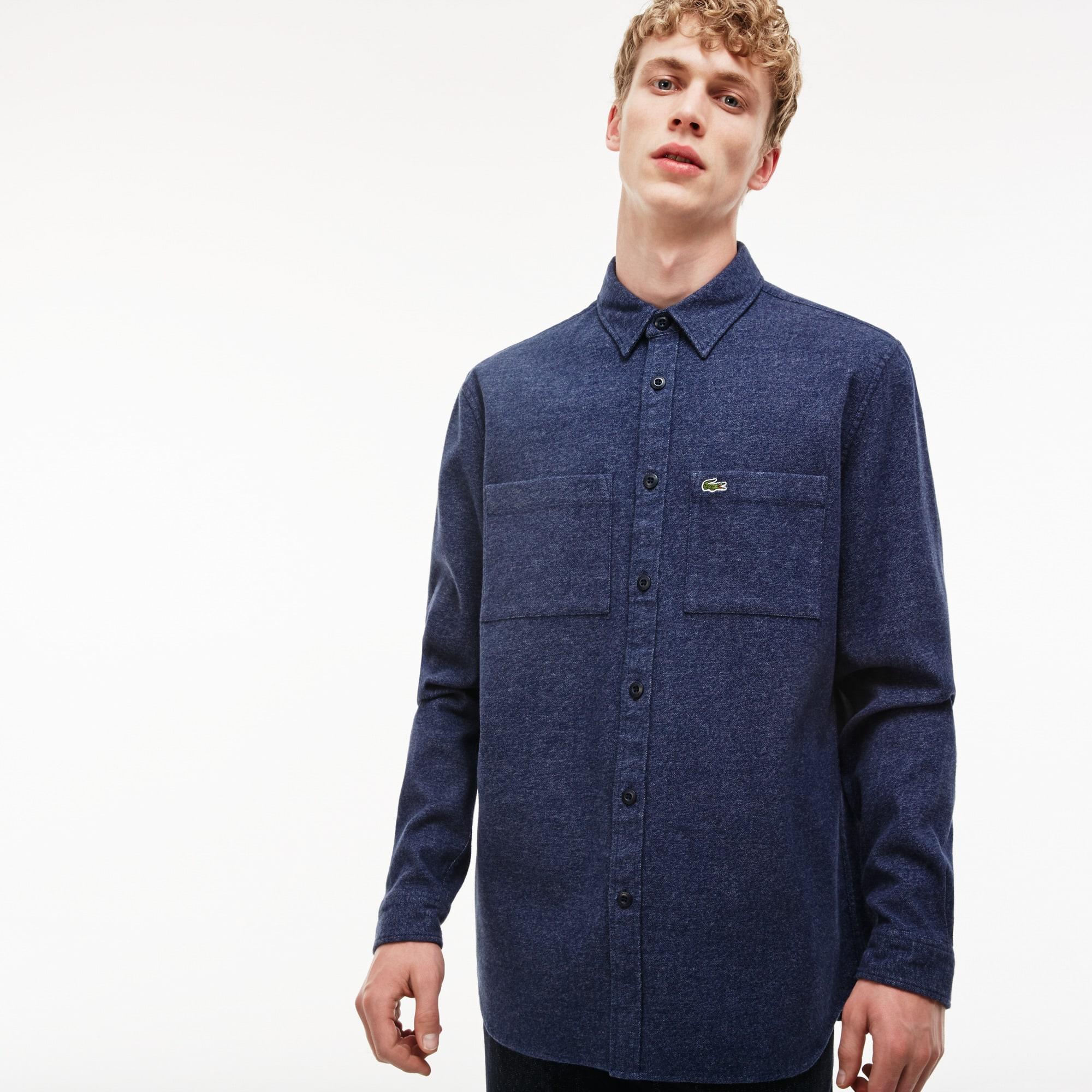 Men's Regular Fit Heather-Effect Flannel Shirt With Pockets