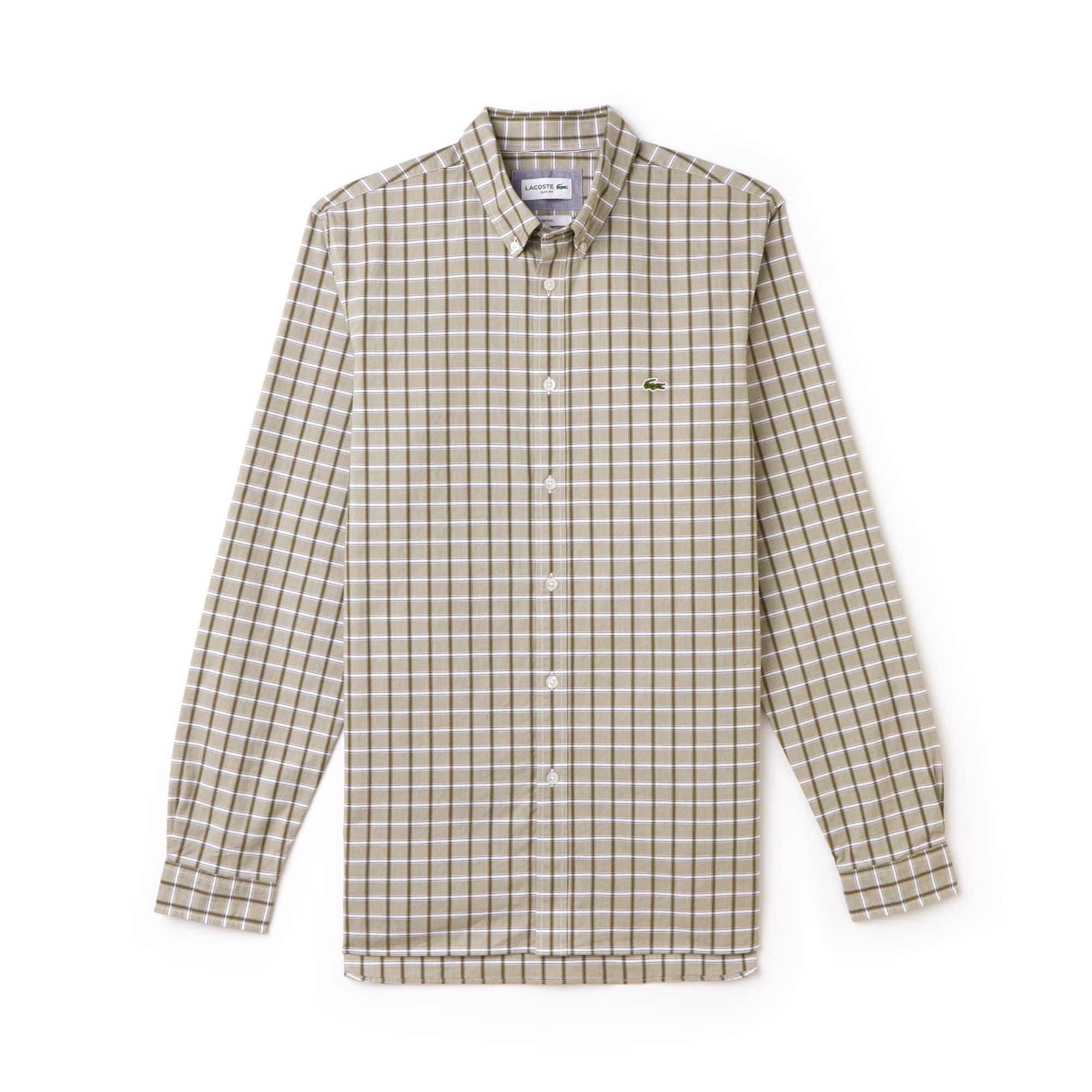 Men's Slim Fit Check Stretch Oxford Shirt