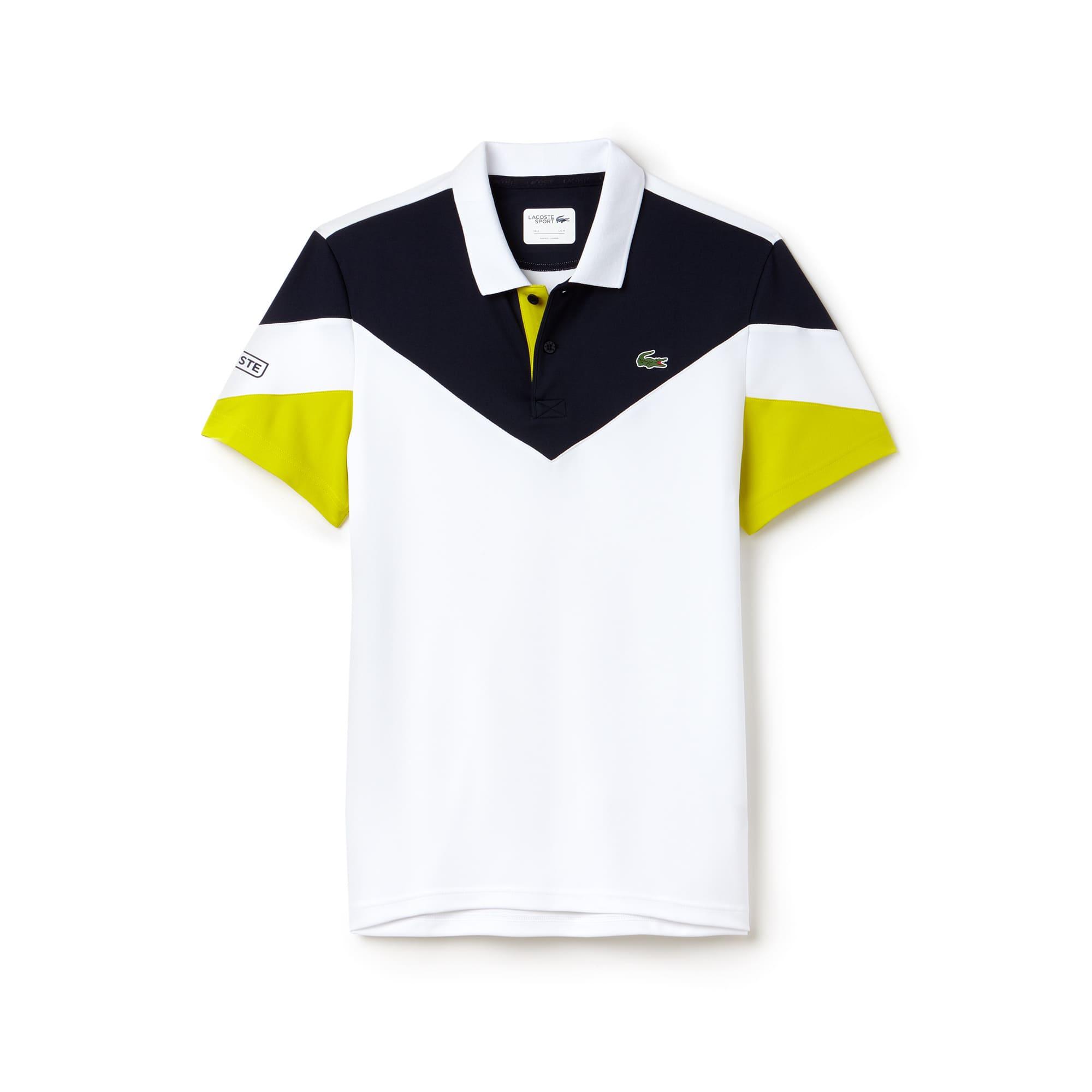 라코스테 Lacoste Mens SPORT Tennis Colorblock Tech Pique Polo,White / Navy Blue / Yellow