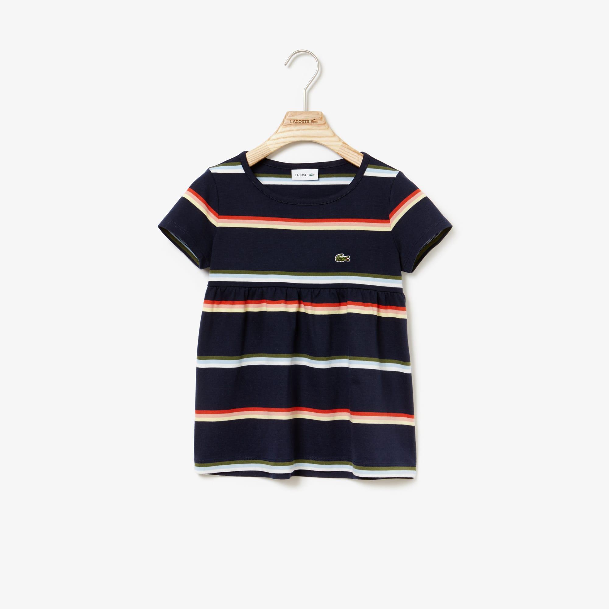 Girls' Crew Neck Cotton And Linen Jersey T-shirt