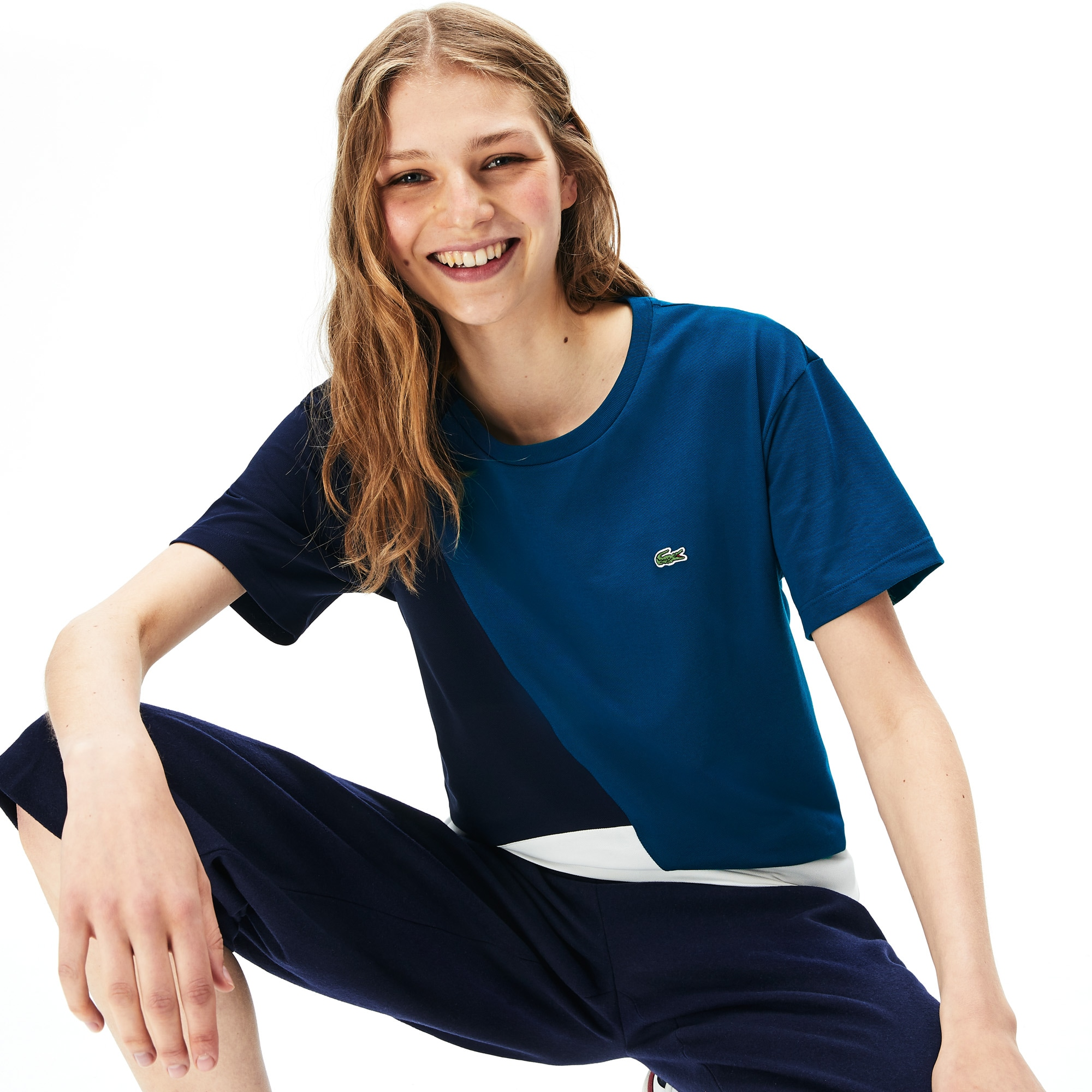 Lacoste Tops Women's Crewneck Color-Block Thermoregulating T-shirt