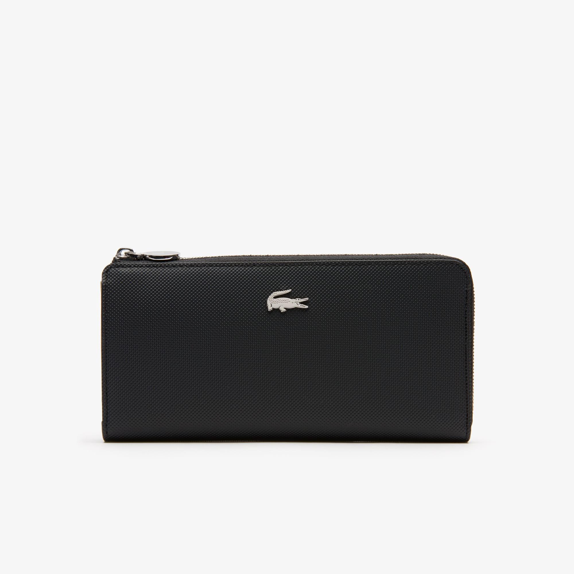 라코스테 Lacoste Womens Daily Classic Coated Pique Canvas 10 Card Zip Wallet,black