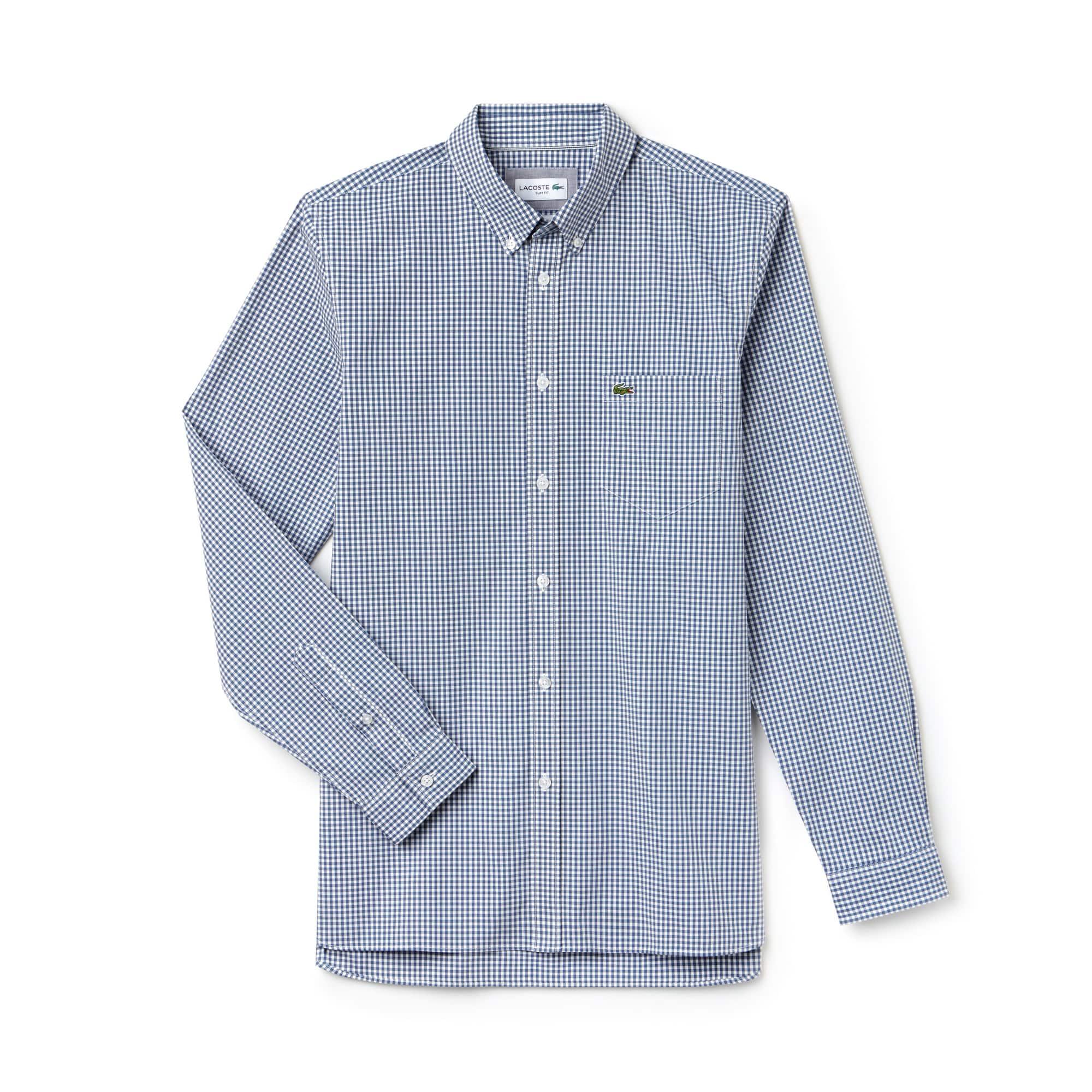 라코스테 Lacoste Mens Slim Fit Gingham Stretch Cotton Poplin Shirt,blue / white