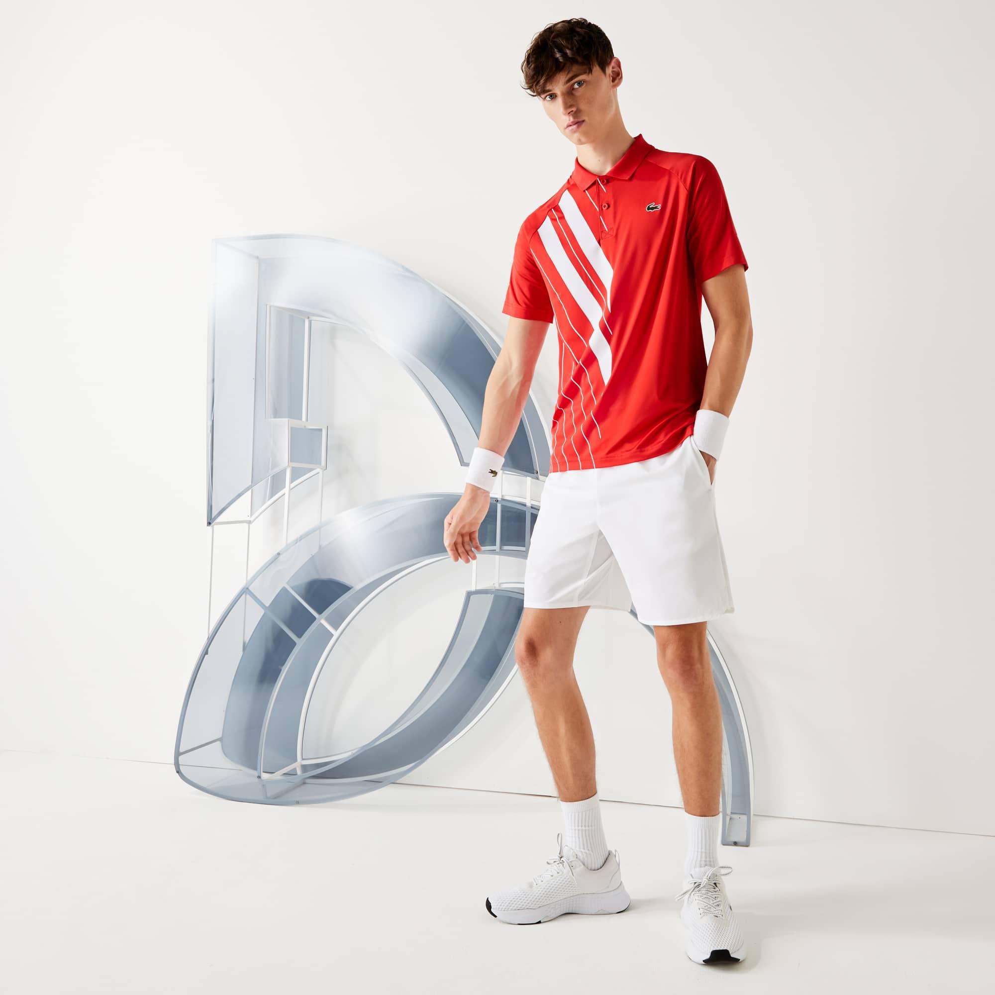 라코스테 Lacoste Mens SPORT x Novak Djokovic Print Stretch Jersey Polo Shirt