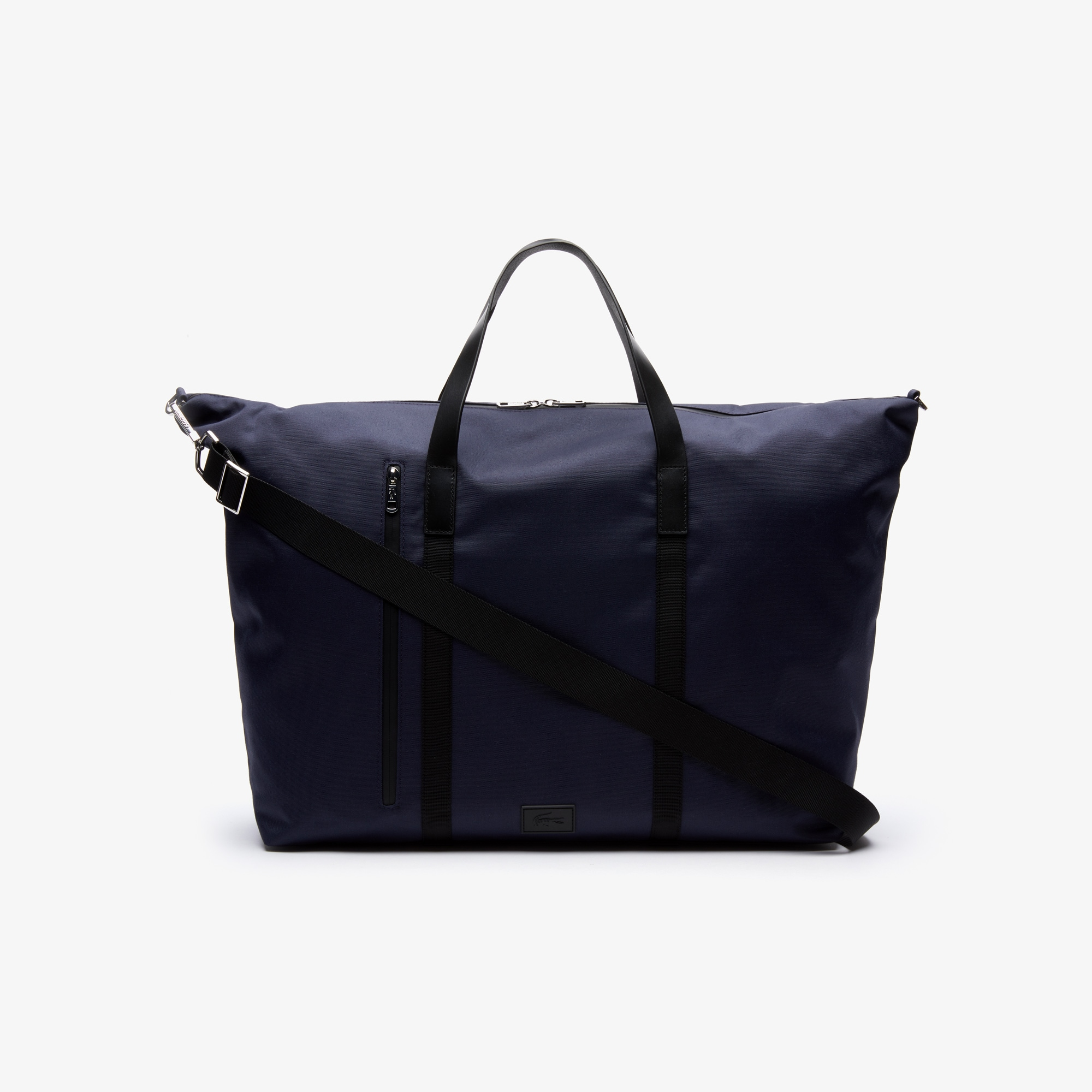 라코스테 말로 가죽 위켄드백 Lacoste Mens Malo Leather Accent Weekend Bag,BLACK IRIS BLACK