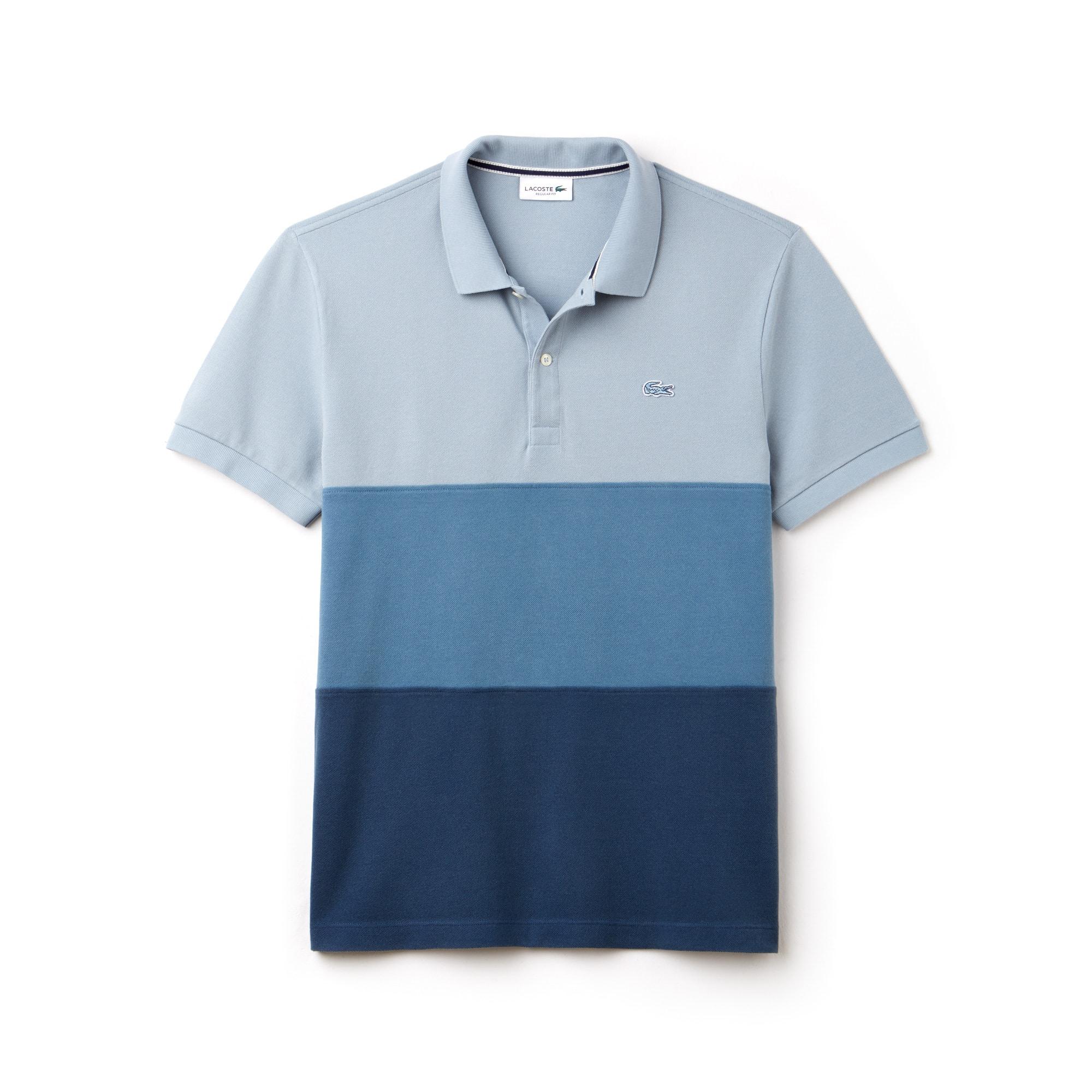 라코스테 컬러블록 피케 폴로셔츠 - 노르딕블루/멀티 Lacoste Mens Regular Fit Colorblock Petit Pique Polo,NORDIC BLUE/MULTICO