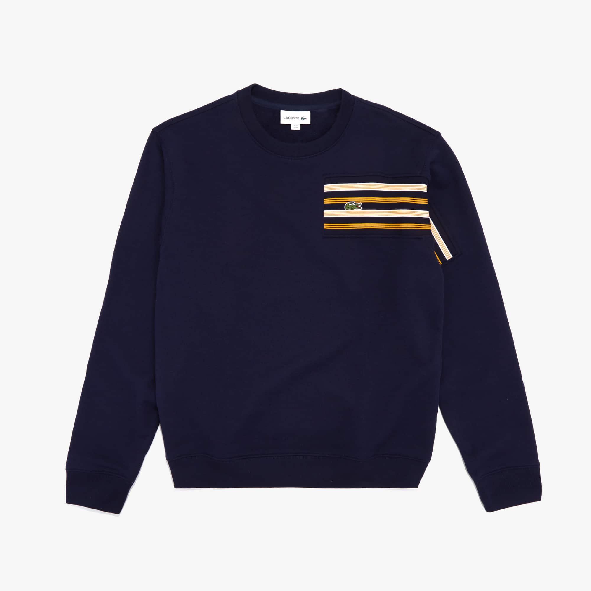 Lacoste Tops Men's Striped Panel Cotton Fleece Sweatshirt