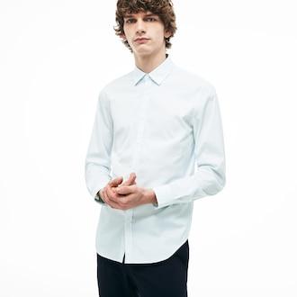 라코스테 Lacoste Mens Slim Fit Cotton Poplin Shirt,Light Blue - 58M