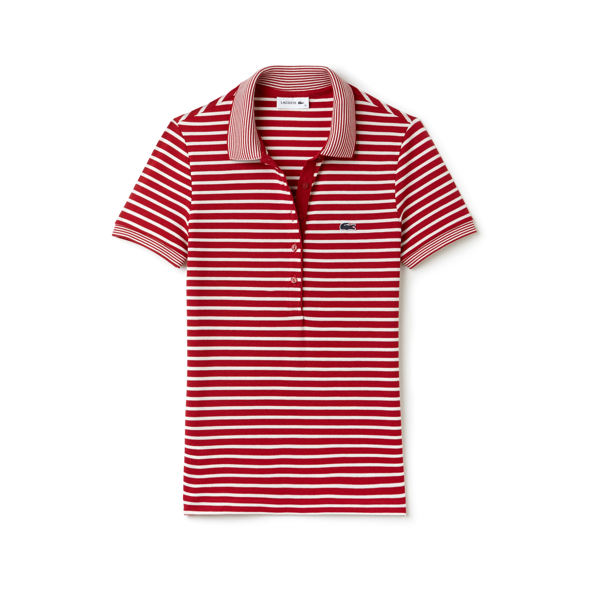 bf0fa1c3f9 Women's Lacoste Slim Fit Striped Mini Piqué Polo Shirt | LACOSTE