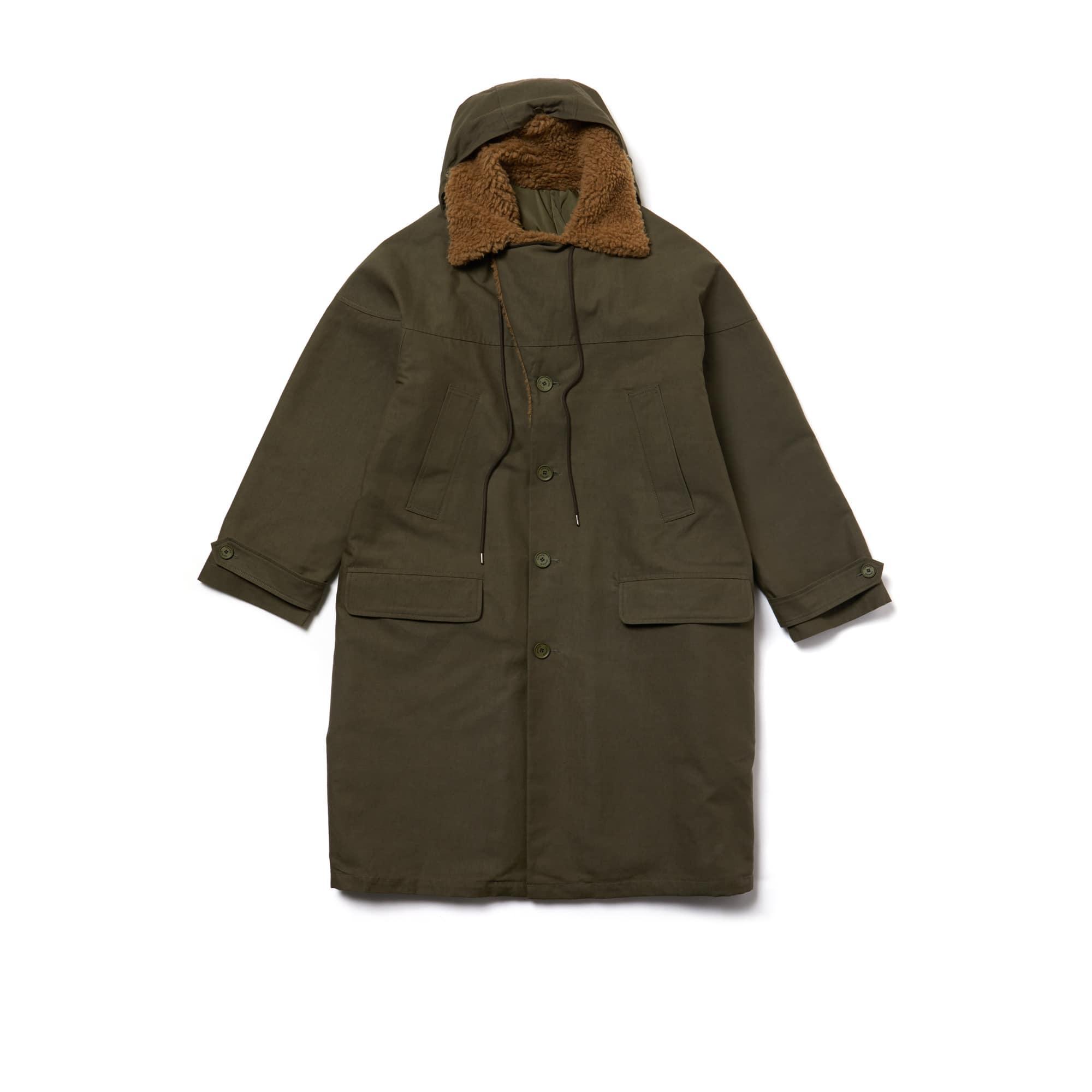 라코스테 Lacoste Mens Fashion Show Reversible Gabardine And Technical Canvas Coat,REPTILE/REPTILE-VILLARSI