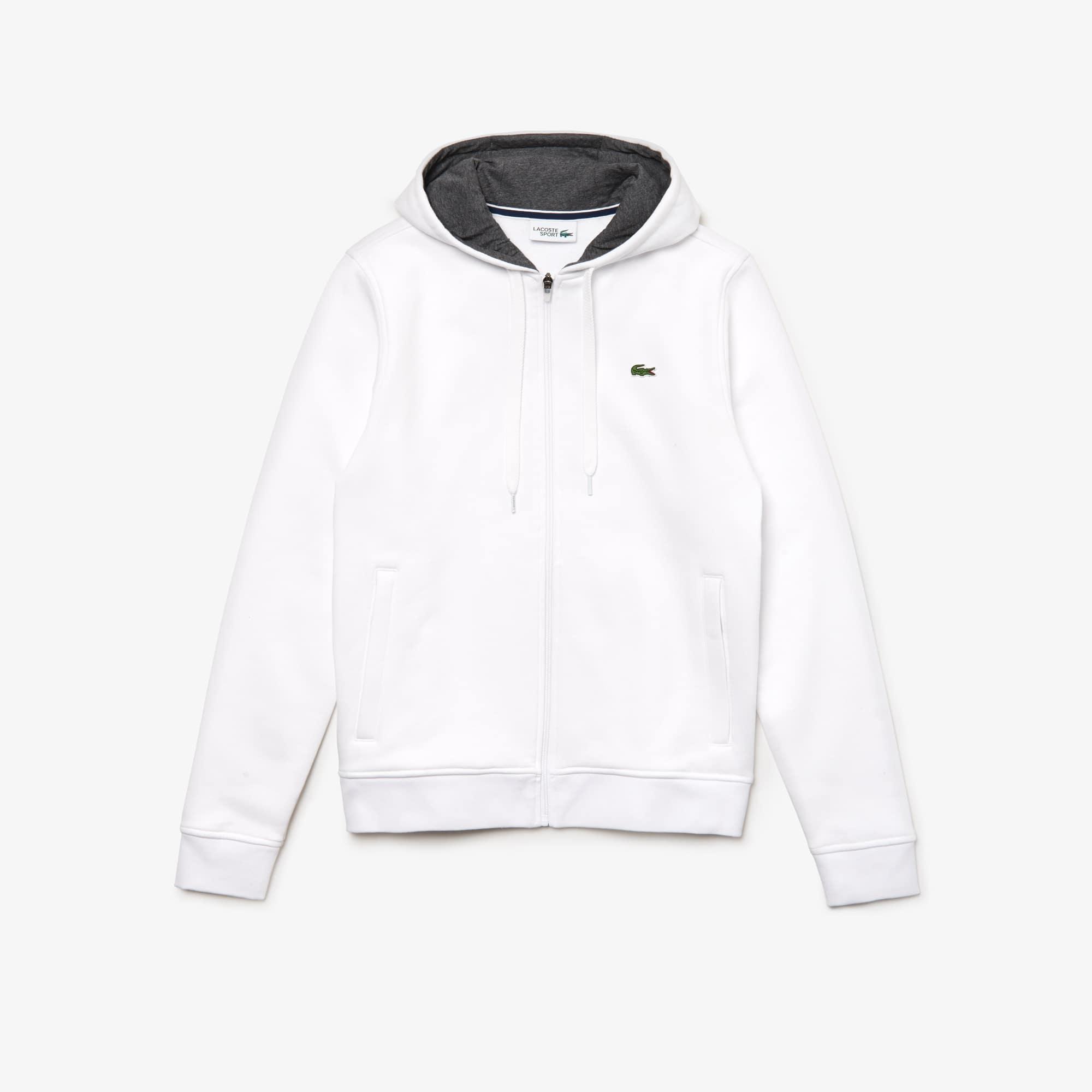 라코스테 Lacoste Mens SPORT Tennis Fleece Zip Up,white / grey chine