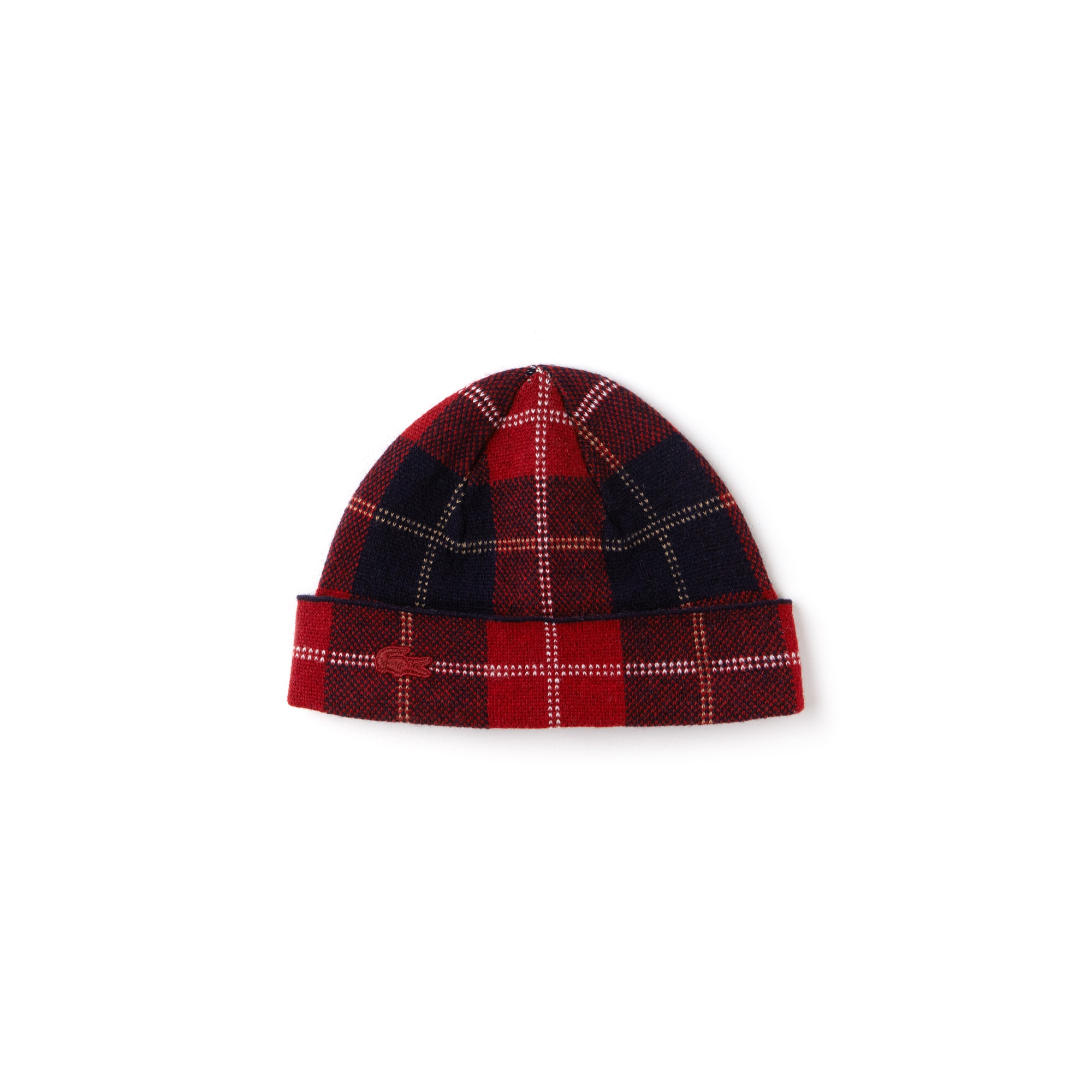 Women's Turned Edge Tartan Check Wool Jacquard Beanie