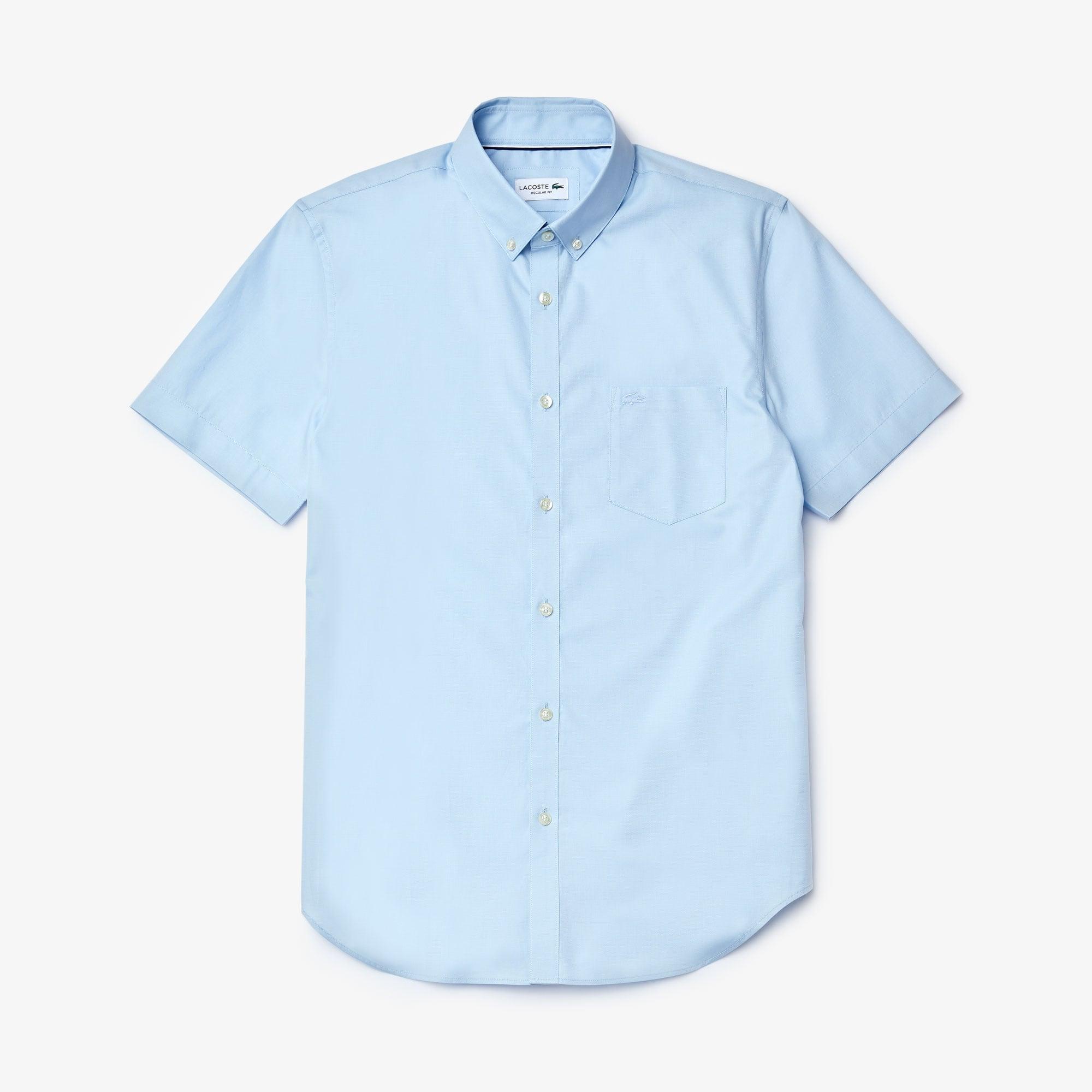 라코스테 Lacoste Mens Regular Fit Mini Pique Shirt,light blue / light blue