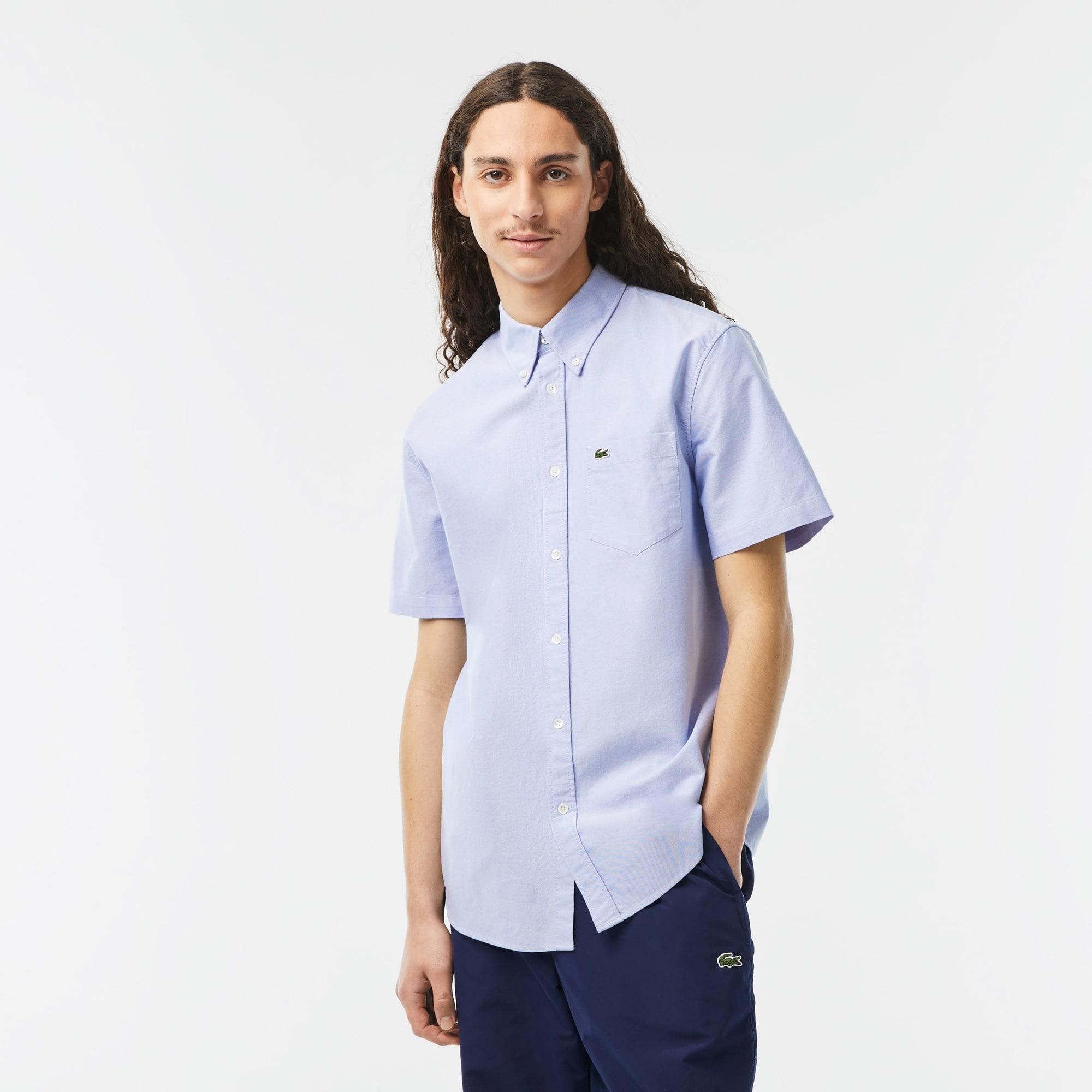 라코스테 맨 옥스포드 셔츠 Lacoste Mens Regular Fit Oxford Cotton Shirt,Blue HBP