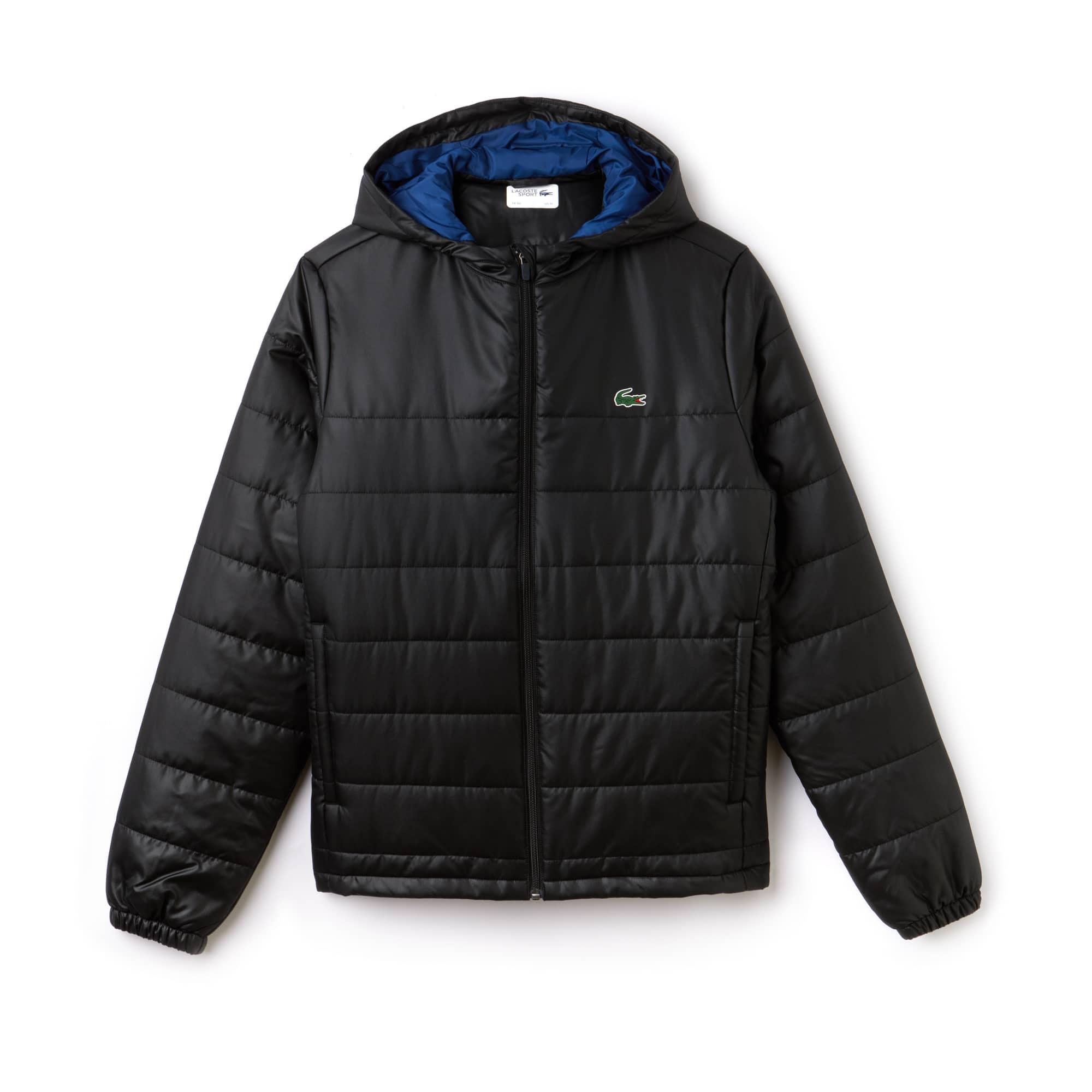 라코스테 Lacoste Mens SPORT Hooded Water-Resistant Taffeta Tennis Jacket,black/inkwell