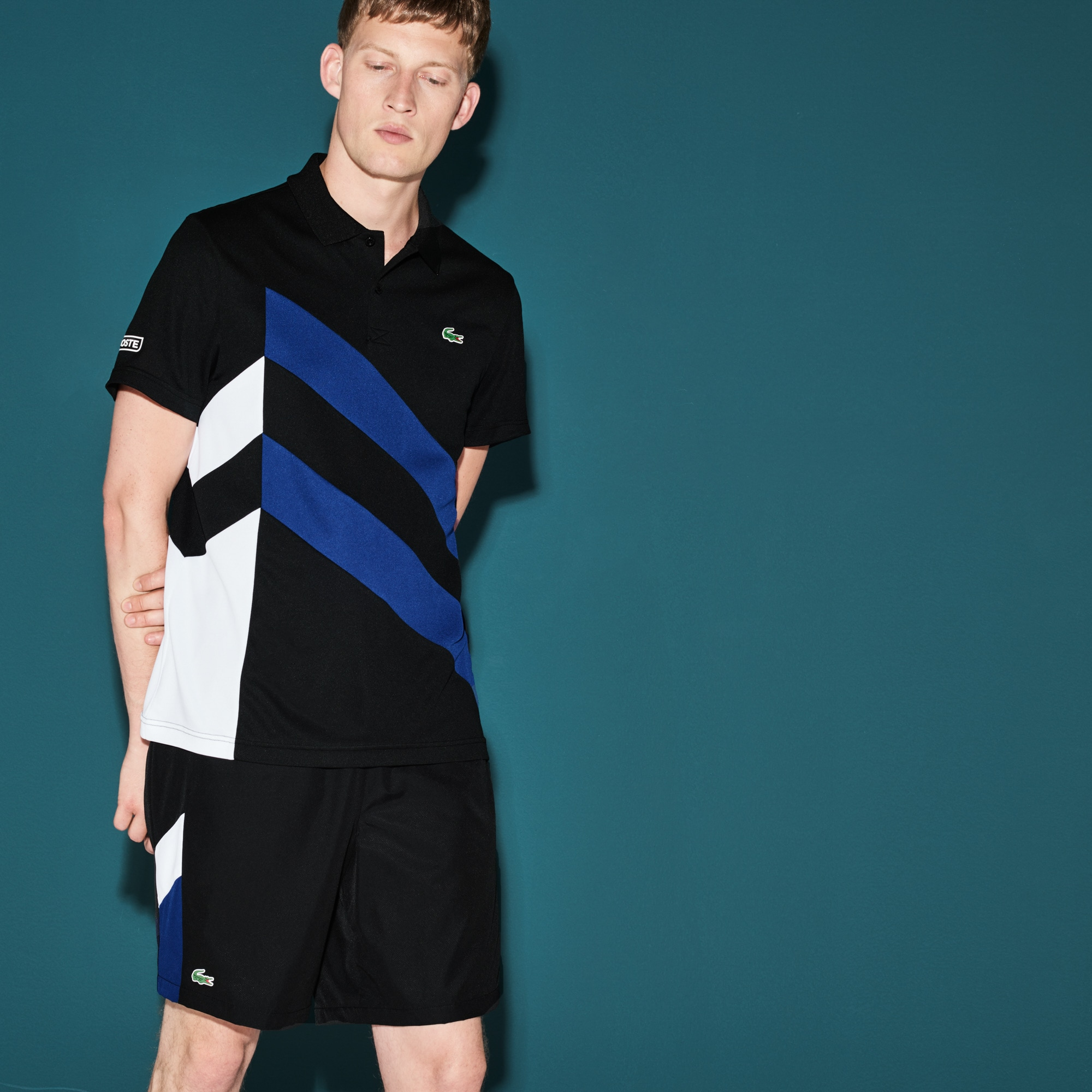 Men's  SPORT Tennis Colorblock Band Tech Piqué Polo