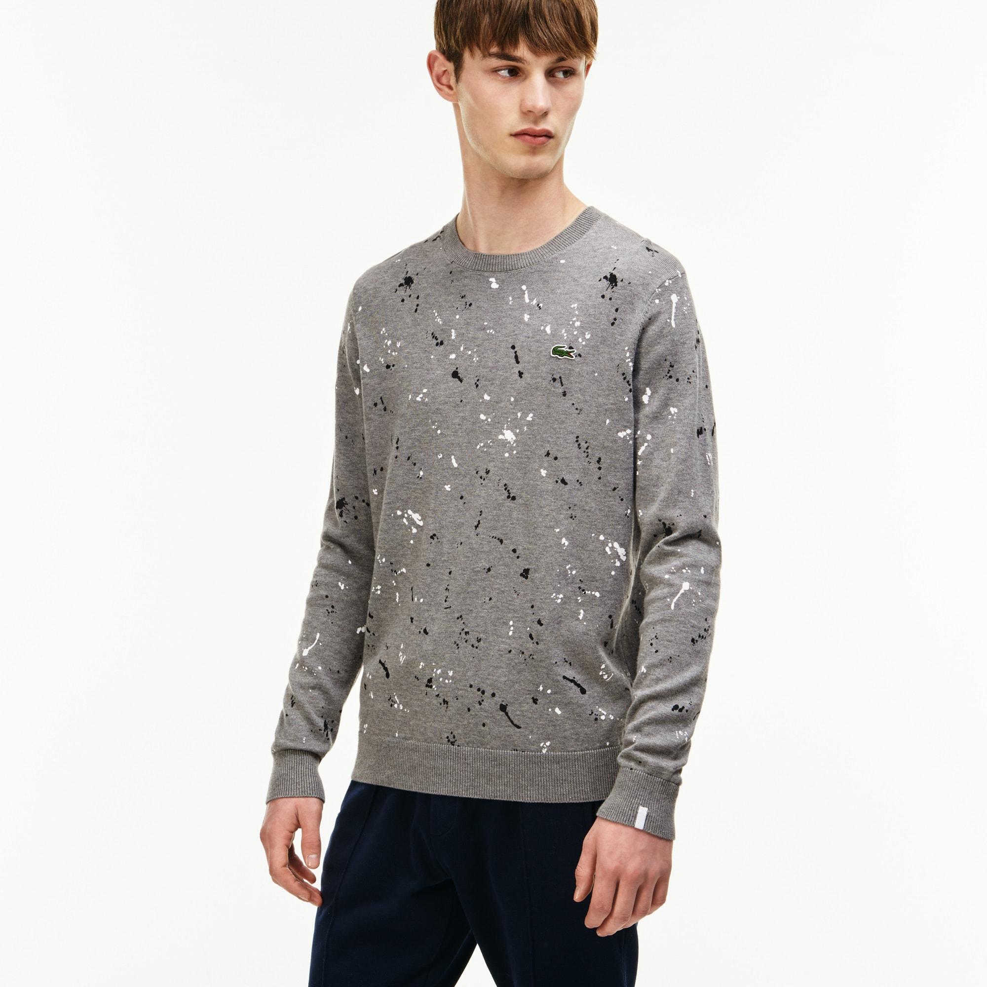 Men's LIVE Crew Neck Speckled Print Jersey Sweater
