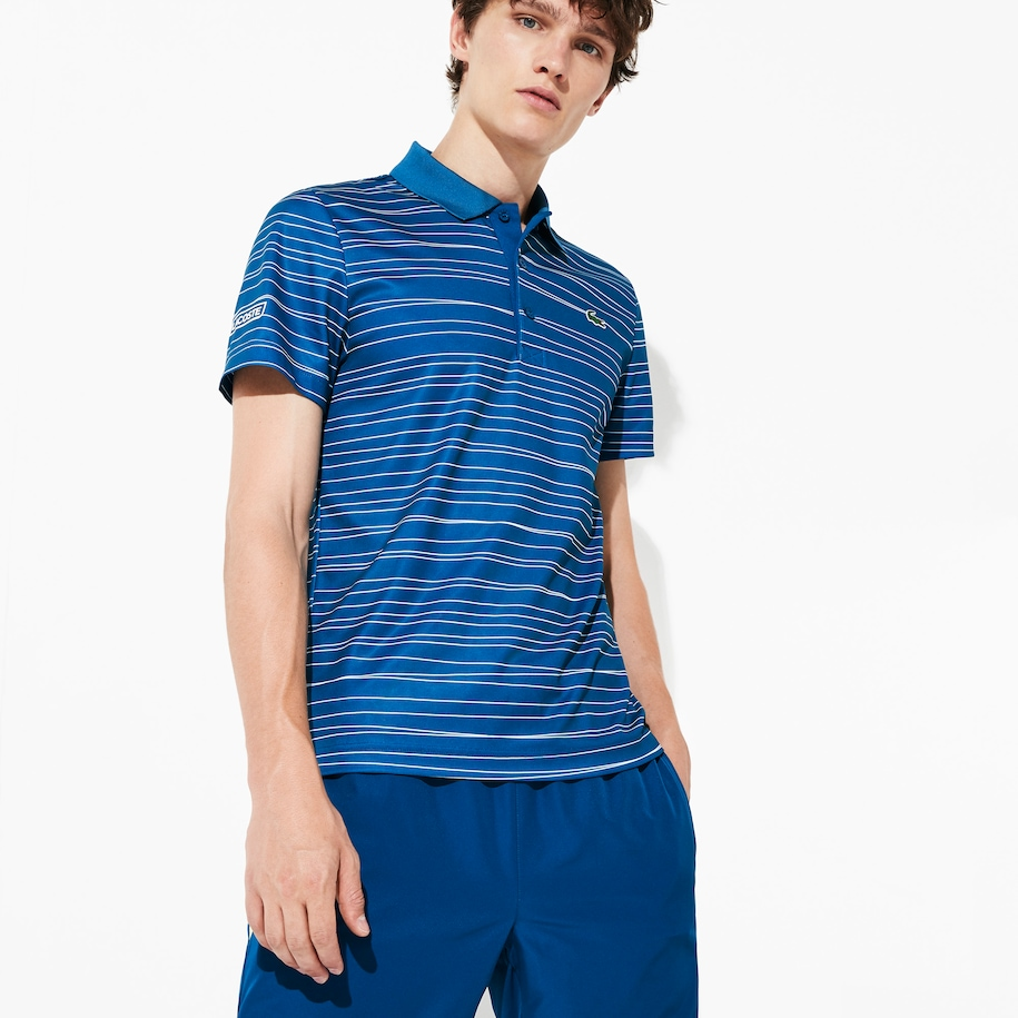 Men's SPORT Striped Breathable Piqué Tennis Polo