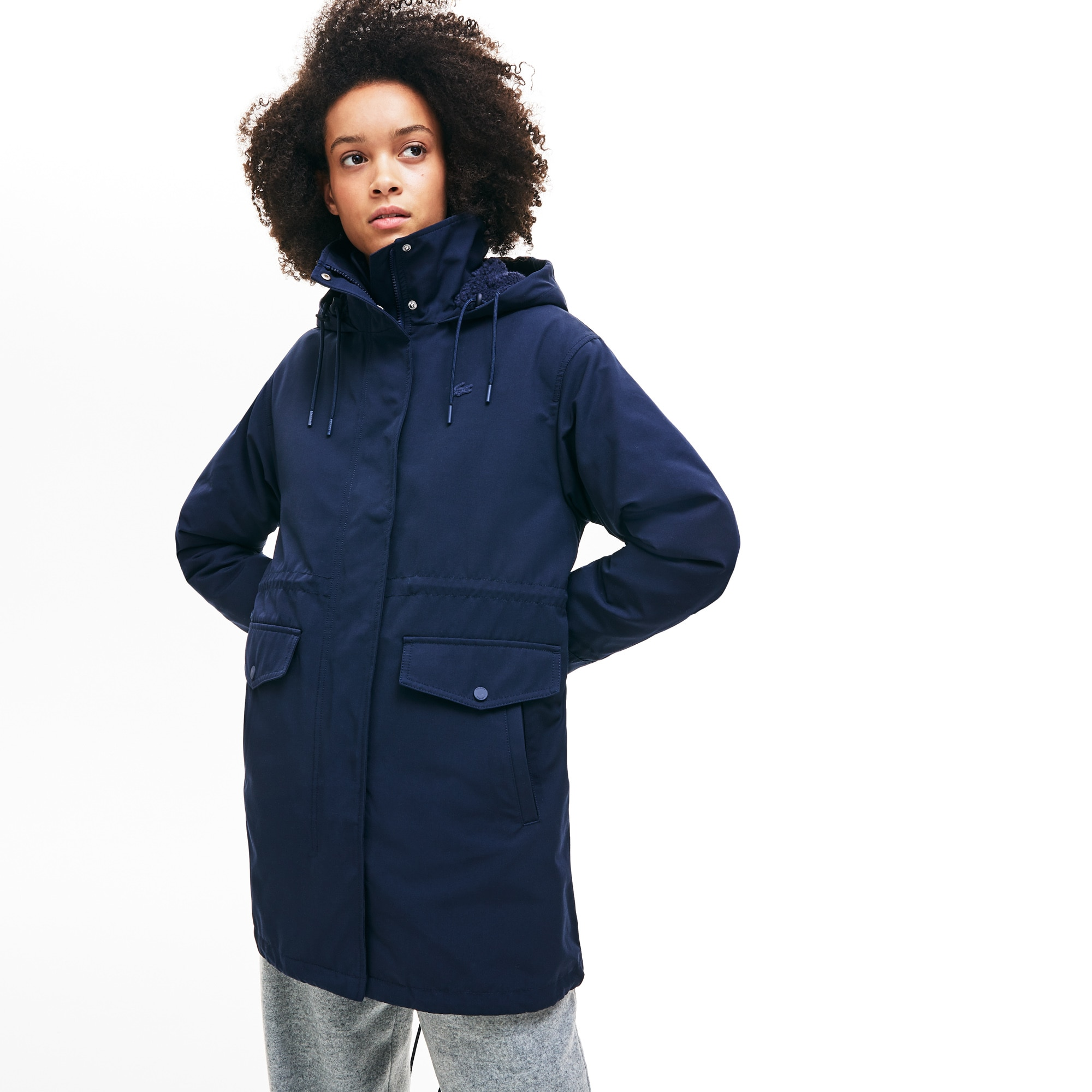 Lacoste Coats Women's 3-In-1 Detachable Quilted Jacket And Hooded Cotton Parka