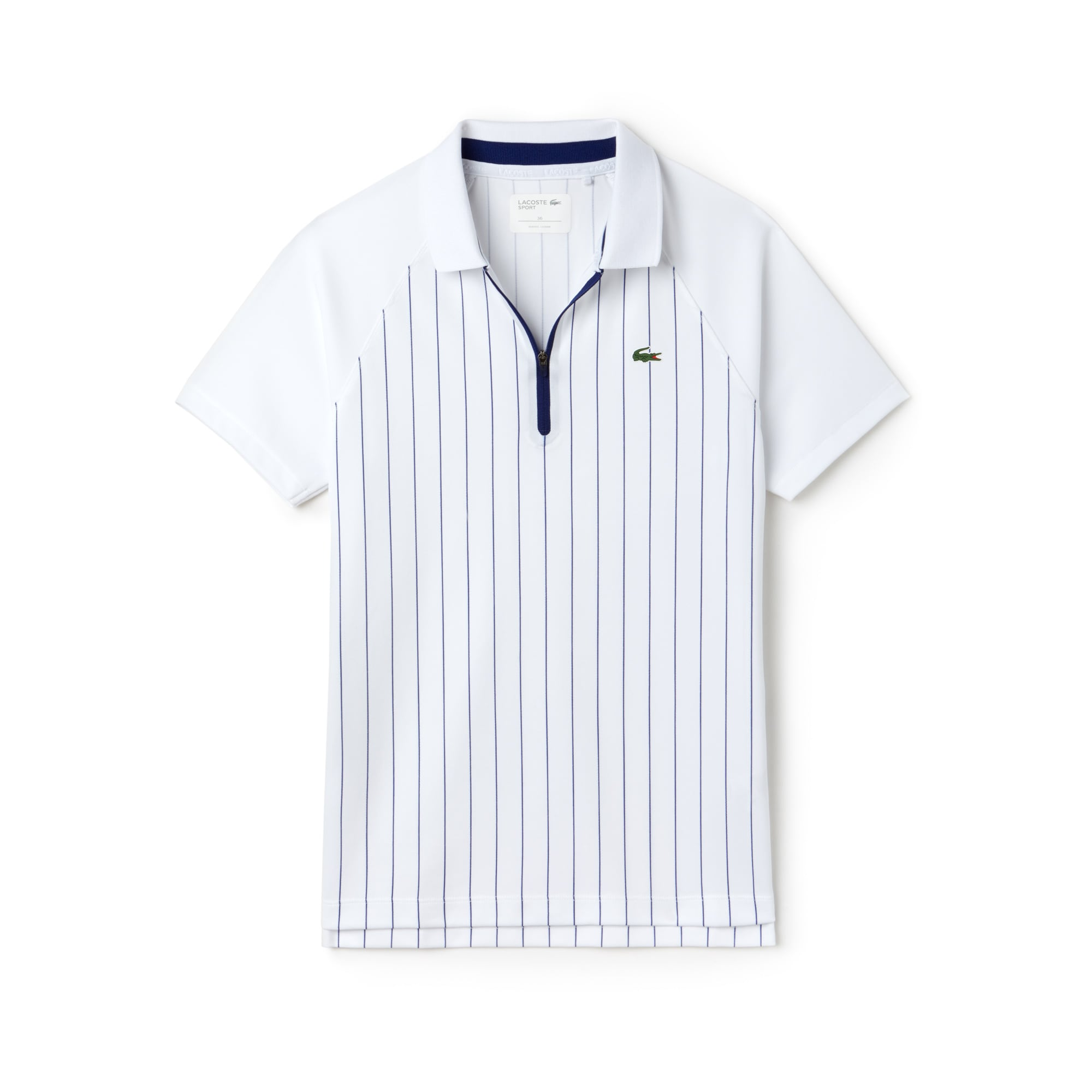 Women's  SPORT Tennis Zip Neck Striped Tech Piqué Polo