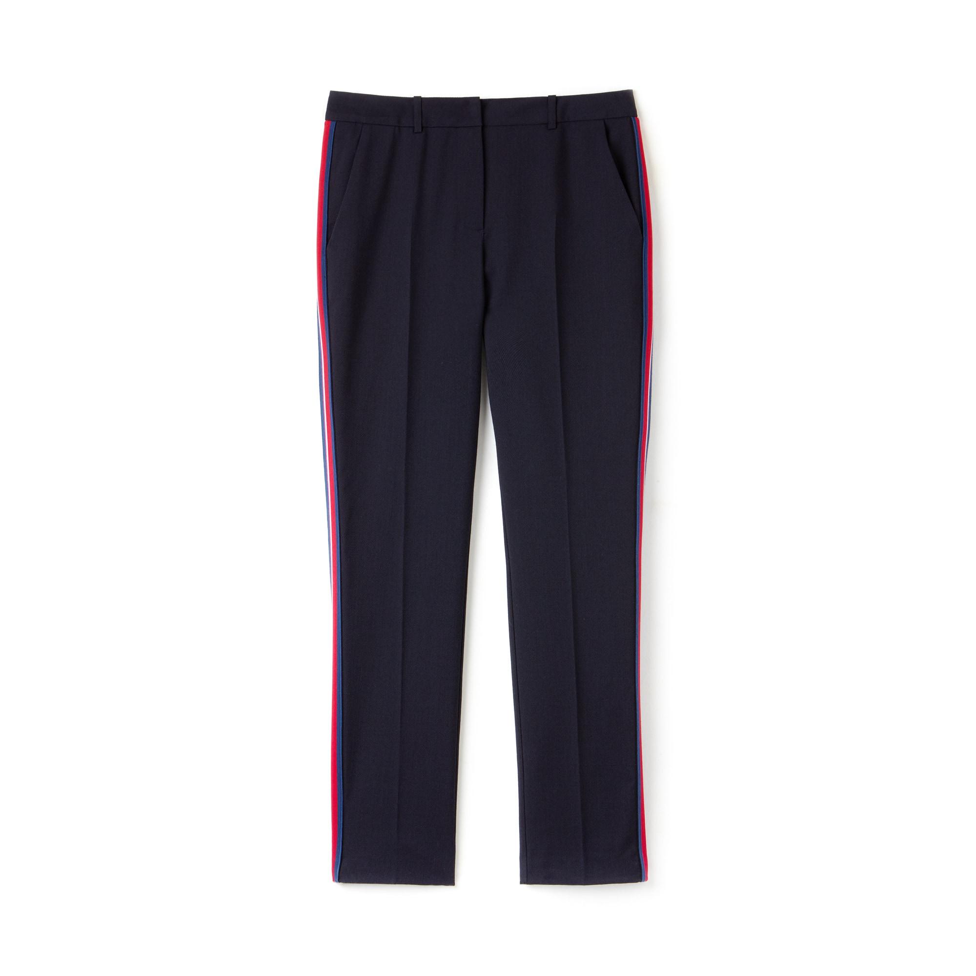라코스테 Lacoste Womens Slim Fit Side Bands Stretch Wool Pique,Navy Blue