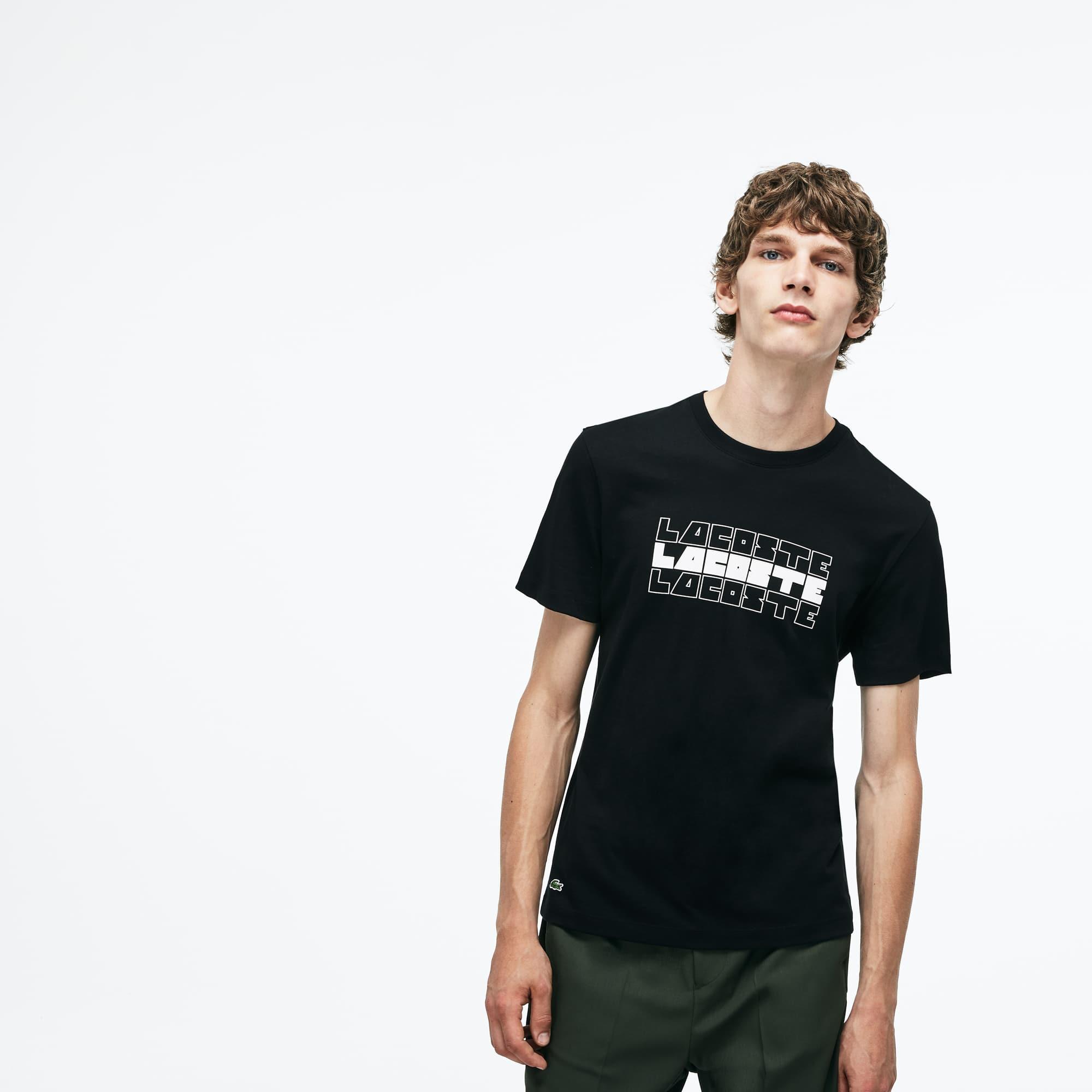 Men's Crew Neck Lettering Cotton Jersey T-shirt