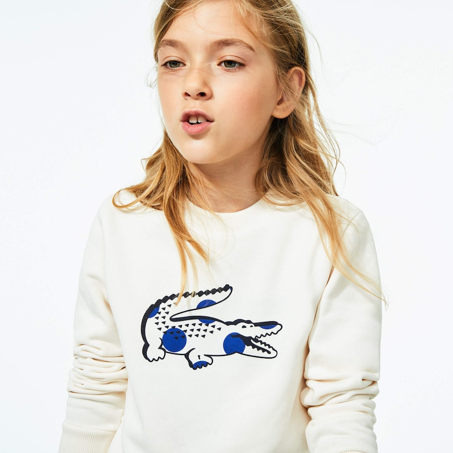 Girls' Oversize Dotted Croc Crew Neck Sweatshirt